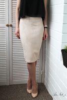 Wholesale Working Woolen - 2017083116 Suede Skirts Women Summer Khaki Skirt Slim Autumn Summer work Office Ladies Pencil Knee-Length vintage skirt