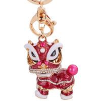 bolsas de regalo de león al por mayor-Chino Tradicional Colorido Interesante Fancy Lion Dance Llavero China Town Feliz Año Nuevo Regalo Promocional Bolso Monedero Encanto Llavero Anillo