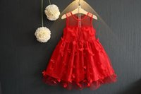 Wholesale Wholesale Yellow Tulle - Girls Red Wedding Dress Children Lace Princess Butterfly Solid Tutu Dresses Big Girl Ruffle Tulle Dresses Size 8Y-14Y New Arrival