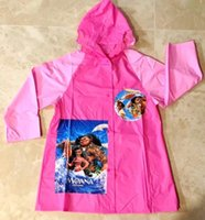 Wholesale Children Character Raincoats - Cartoon Moana Raincoat for Girls Fashion Waterproof Kids Girls Jumpsuit Raincoat Hooded One-Piece Cartoon Hooded Children Raincoat Suit