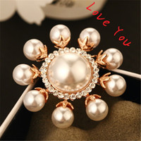 Wholesale Gold Rhinestone Brooch Buckle - Luxury Pearl Sunflower Brooches for Women Fashion Gold Plated Vintage Brooch Pins Crystal Scarf buckle Indian Jewelry 2016 Now