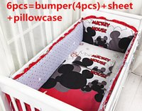 Wholesale Cheap Baby Sheets - Promotion! 6PCS Mickey Mouse Cheap Baby Cot Bedding Kit Underwear Bedding Set (bumpers+sheet+pillow cover)
