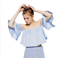Wholesale Cheap Crop Top Tees - Summer Women Sexy Chiffon Off Shoulder Top Flare Sleeve Tank tops Tee Shirts Crop Top Cropped Blouses Cheap Clothes Clothing