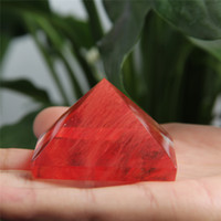 Wholesale HJT 82g Natural red fused crystal pyramid nunatak Reiki Healing fused crystal quartz pyramid decoration 32mm-52mm