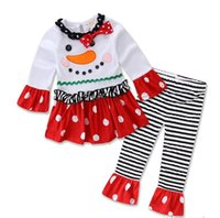 Wholesale Winter Outfit For Children - Christmas Outfits for Children With bow Long sleeve Leisure wear 2017 Christmas eve flare sleeve Tree dress striped Pants DHL shipping