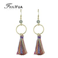 Wholesale Colorful Circle Earrings - Ethnic Style Boho Earrings Gold-Color Silver Color Round Circle Shape With Colorful Long Tassel Drop Earrings for Women