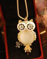 Wholesale Color Owl Necklace - Owl Pendants Necklace Statement Necklaces For Women Gold Color Jewelry Chains Fashion Popular Shipping Free Hot Selling