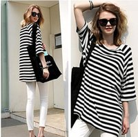 Wholesale Striped Dolman Tee - Brand New Womens Casual Loose Striped short sleeve T Shirt Tee Tops Plus size fashion summer clothing apparel white + balck gift