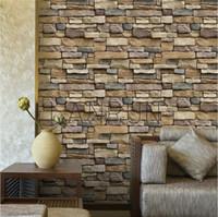 Wholesale Brick Wallpaper Sticker - 60CM*10M PC Self Adhesive Wallpaper PVC Waterproof Stone Wallpapers Brick Wall Paper Decorative Wall Stickers Bedroom Home Decor