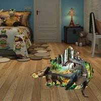 Wholesale Collage Children - 3D three-dimensional wall stickers creative children bedroom wall decoration real boy collage murals of Dinosaurs wall sticker
