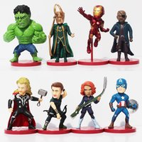 Wholesale Loki Figure - 8pcs set Avengers 2 Age of Ultron PVC Figure Toys Thor Hulk Iron Man Captain America Black Widow Hawkeye Loki Free Shipping
