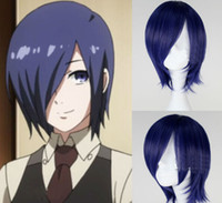 Wholesale Anime Wigs Purple - Free shipping Tokyo Ghoul Kirishima Touka Wig Short Straight Mixed Purple Hair Synthetic Anime Cosplay Wig