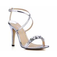 Wholesale Rhinestone Belt Cross - plus size 35-43 cross-strap women concise sexy ankle belt gladiator sandals new summer ultra thin high heels hot fashion rhinestone shoes