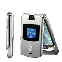 Wholesale Black Razr Phone - Refurbished MOTOROLA RAZR V3 Unlocked Mobile Phone 2.2Inch Screen 0.3MP Back Camera Quad Band Multi-language