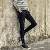 Wholesale Night Clothes Men - Fashion hair stylist, pants, night club, men's casual pants, Korean fashion tights, youth, slim feet, trousers, autumn clothes