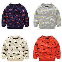 Wholesale Wholesale Sweaters For Kids - Lovely Cartoon Pullover for Kids Animal Dinosuar Jacquard Sweaters 4 Colors Selection Gray Beige Orange Dark Blue