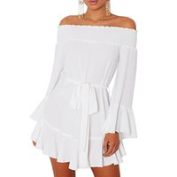 Wholesale Bell Drop White - Women Autumn 2017 Sexy Ladies Off Shoulder Flare Long Sleeve Drop Hem Pleated Mini Dress Vestidos Mujer Fall LC220116