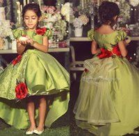 Wholesale tulle puff flowers - Forest Green New Arrival High Low 2017 A line Flower Girls Dresses Jewel puff sleeve Zipper Empire Satin with Tulle Skirts Tea Length Dress