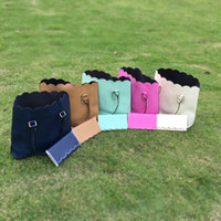 Wholesale Wholesale Bridesmaids Purses - Wholesale Blanks Scalloped Totes PU Faux Leather Purses Women Handbag for Bridesmaid with Matching Color Wallets DOM103172