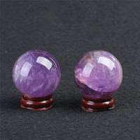Wholesale Ball Room Dancing - HJT Wholesale 2pcs Natural Amethyst Gemstone Sphere ball Amethyst healing sphere for sale Chrismas Home Decorations small crystal ball 40mm