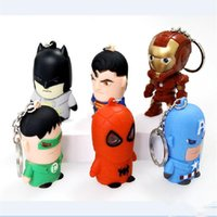 Wholesale Dc Superheroes Action Figures - LOST WAY Hot Flashlight Pendant Key Chain DC Superhero Batman The Avengers Led Keychain Cute Action Figure LED Keyrings