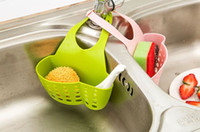 Wholesale New Creative sink Basket snap shelf kitchen sink sponge pouch hanging multi draining rack colors