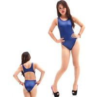 Wholesale Ladies Leather Bikinis - Wholesale- Women Lady Sexy Bikini Swimsuit Siamese T Hip Crotch Faux Leather Practice Competition