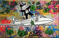 Wholesale Genuine Figures - Airpalne,Genuine Handpainted Alec Monopoly Cartoon & graffiti Pop Art oil Painting On Canvas Museum Quality in any size chosen