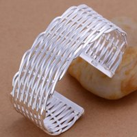 Wholesale Sports Jewerly - B011 Top quality Silver Plated &Stamped 925 cross mesh bangle cuff bangle bracelet for women jewerly wholesale jewelry promotion