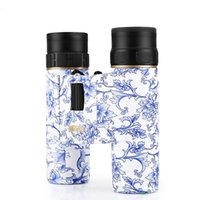 Wholesale Fmc Free - BIJIA Portable 10 x25 Blue and White Porcelain HD Binoculars BAK4 Lens Material FMC Green with 96M 1000M Scope Free shipping