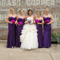 Wholesale Sheath Ankle - Sweetheart Sequin Purple Bridesmaid Dresses Wedding Guest Dress Maid of Honor Party Dresses Factory Custom Made