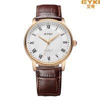 Wholesale Overfly Brand Watch - EYKI Overfly Watch Men Watch Top Brand Luxury Genuine Leather Strap Analog Display Quartz Watch Casual Watch relogio masculino