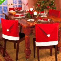 Wholesale Cheapest Chair Covers - CHEAPEST!! Santa Claus Hat Chair Covers christmas table linens Dinner For Christmas Xmas Decorations Home Party FREE SHIPPING