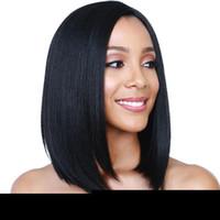 frange de perruque moyenne et noire achat en gros de-ZF US Side Bang Perruques 14 pouces Noir Perruque Droite Moyen Cheveux Courts Taille Réglable Mode Naturel