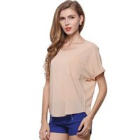 Frauen Blusen Shirts 2017 Plus Size Fashion Dünne Tasche Chiffon Kurzarm Sommer Tops Solid Party Club Casual Blusen Damen Top