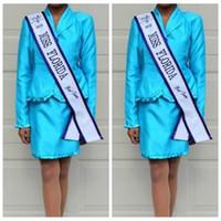 Wholesale Online Suit - Blue Beautiful Little Girls Pageant Interview Dresses Custom Online 2017 Cheal Pageant Interview Suits Short Mini Pleated
