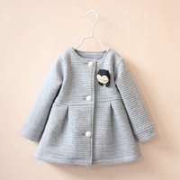 Wholesale Dolls Coats - Fashion Spring Autumn Baby Kids Girls Children Princess Bow Doll Woolen Blended Jackets Coat Cardigan Outwear Coats Girl Clothes