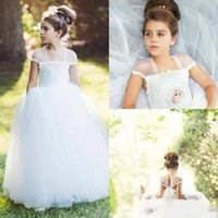 Wholesale Cheap Cupcake Wedding Dresses - 2016 Ivory Tulle Lace Princess Flower Girls Dresses For Weddings Cheap Capped Sleeve Cupcake Pageant Gown Shoulder Holy Communion Dresses