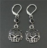 Wholesale Silver Skull Earrings Women - Cool Women 316L stainless steel biker jewelry ladies silver black biker skull earrings With Black Crystal Stones beautiful Biker Stud
