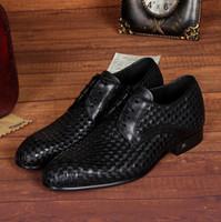 Wholesale Wedding Dresses For Men Suits - Fashion Braided Office Suit Shoes Mens Genuine Leather Italian Designer men Wedding Dress shoes Flats for Male Plus Size 45