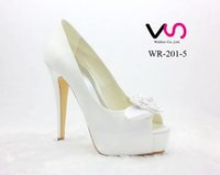 Wholesale High Heels Platform Rose - New Rose Bow Brilliant White Color Super High Heel Peep Open Shoe Toe With Thick Platform Dyeable Satin Dyeable Women Bridal Wedding Shoes