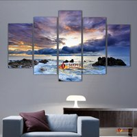 Wholesale Large Abstract Canvas - 5 Pcs Large Canvas Art Sea Painting Canvas Wall Art Picture Home Decoration Living Room Canvas Print Modern Abstract Art Painting