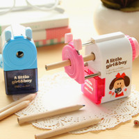 Wholesale kawaii pencil mechanical - Wholesale-korean hand mechanical pencil sharpener for pencil student kawaii stationery school supplies material escolar
