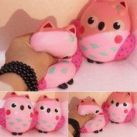 Wholesale Owl Phone - Wholesale 20pcs 12CM Squishy Kawaii Cute Pink Owl PU Soft Slow Rising Phone Strap Squeeze Break Kids Toy Relieve Anxiety Fun Gift New
