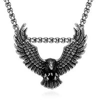 Wholesale Cool Chain Europe - 2016 Hot models in Europe and America Retro classic domineering Eagle models pendant necklace for men handsome cool black cheap necklace