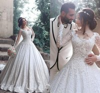Wholesale Elegant Dresses Beaded Wedding - Elegant Wedding Dresses Plus Size Full Lace Crystal Beaded Ball Gown Scoop Neck Long Sleeves Arabic Sweep Train Formal Bridal Gowns
