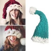 Crochet Christmas Santa Hat Pas Cher-Christmas Winter Warm Raccoon Beanie Cap Coton tricotée en hiver Vogue Crochet Santa Claus Beanie Chapeaux Femmes Parent-Child Hat 100 pcs YYA619