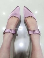 Wholesale Sexy Red Sandals Low Heel - Sexy Low Heels Kitten Heels Lovely bow satin Women summer sandals,2016 Brand Design Nude Fuchsia Rose satin Wedding Shoes