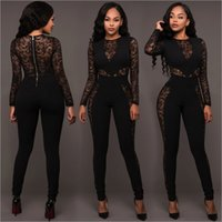 Spandex plus size rompers - 2018 Lace Patchwork Romper Playsuits Long Pants Plus Size New Elegant Rompers Long sleeves Women Jumpsuit Fashion Bodysuit