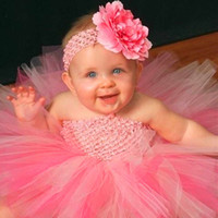 Wholesale White Suspenders For Babies - Flower Double Layers Fluffy Baby Dress Purple White Pink Baby Girls Tutu Dress With Headband Birthday Sets For Baby PT46